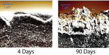 differences in oxidation on a layered polymeric film